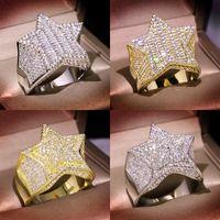 Hommes Bague d'or Stones Haute Qualité Five Star Fashion Hip Hop Hop Silver Anneaux Bijoux