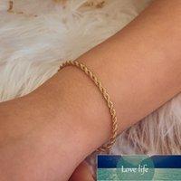 New Fashion Gold Color Twist Rope Chain Bracelet for Women Punk Hip Hop Metal Bracelets Party Wedding Jewelry