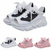 Sandalet Yaz Kadınlar Düz Alt Ayakkabı Vahşi Kalın Alt Rahat Balık Ağız Spor Sandalet Toe Comfy Chaussure Femme V8DV #