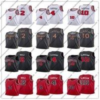 DEMAR 10 DEROZAN AEX 4 Caruso 2 Lonzo Bola Baloncesto Jersey 2021 Comercio Edición auténtica Ciudad City Jerseys Blanco Rojo Negro