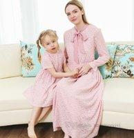 Família combinando roupas meninas rosa laço princesa vestidos mulheres laço laços laço fallea manga vestido vestido vestido conjuntos mãe e filha fósforo roupas q0612