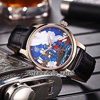 한정판 Classico 자동 망 시계 블루 요트 다이얼 가죽 스트랩 새로운 스포츠 시계