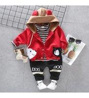 Clothing Sets Baby Boy Set Cute Polar Bear Printed 3-Piece Cotton Hooded Jacket Bottom-Top