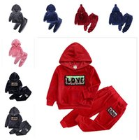 80-140cm Children Pleuche Tracksuit Two Piece Velvety Outfits Boys Girls Pullover Hoodie Hooded Tops and Pants Kids Sportwear G10509