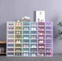 مصمم حذاء رشاقته واضح البلاستيك مربع الأحذية الغبار حذاء تخزين مربع فليب الأحذية شفافة صناديق الحلوى لون الأحذية المتوسطة