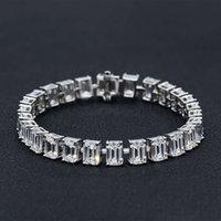 HBP Fashion Jewelry di lusso Nuovo cerchio pieno Cerchio rettangolare smeraldo taglio 5 * 7 Bracciale in argento sterling Diamante S925 15 ~ 16 cm