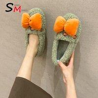 Slippers 2021 Women Fashion Sweet Fur Flats Flip Flops Warm Bow Home Cotton Shoes Designer Short Plush Slides Shallow Mujer