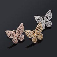 حلقات الفراشة الفاخرة بلينغ الزركون المرأة خواتم الأزياء قابل للتعديل الذهب والفضة اللون الجوف خارج فراشة الهيب هوب خواتم