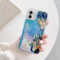 Hübsche Pfau Quicksand-Hüllen für iPhone 12 Mini PRO MAX 11 XR XS x 8 7 6 PC + TPU-Flüssigkeit Bling Phoenix Glitter Floating Cover