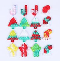 Christmas Push Pops Keychain Fidget Toys Pop Creative Decompress The Key Chain Kid Cheap Stuff Teens gift