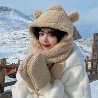 Plush bear three piece hat scarf glov one-piece winter versatile warm and fashionable three piece set