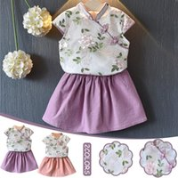 Clothing Sets Toddler Kids Baby Girl Outfits Clothes Embroidery Cheongsam Shirt Top+skirt Set Kid Casual Floral