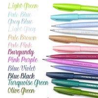 12 Colors Pentel Touch Pastel Brush Pen Set Flexible Tip Calligraphy Plumones Punta Pincel Drawing Markers Painting Supplies 210904