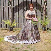 2021 New Vintage Plus Size A Line Camo Wedding Dresses With Spaghetti Strap Lace Appliques Summer Garden Country Bridal Vestidos De Noiva