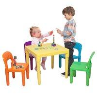 Waco Toddler Kid Table i 4 krzesła Zestaw, dzieci Kolorowe Studiów Odtwórz Arts Rzemiosło Stoły Plastikowe Aktywność Meble