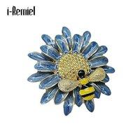 Pins, spille smalto gioielli girasole daisy ape retrò sole fiore cristallo strass in metallo vestito in metallo perni sciarpa fibbia accessori donna accessori