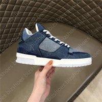 Zapatos de cuero de becerro zapatos de goma de goma Suela de goma Chaussures Azur Blue Denim Luxurys Designer Sneaker Entrenador Zapato casual