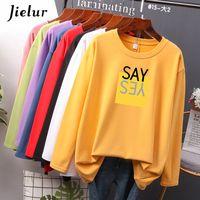 Jielur Nuovo Oversized Autunno Stampa Lettera T Shirt Donna Allentato Semplice T-shirt femminile Coreana M-4XL Top in cotone giallo bianco 210302