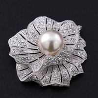 Pins, Brooches 2 Inch Silver Plated Clear Rhinestone Crystal And Pearl Wedding Bouquet Brooch