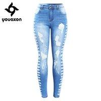 2145 YouAxon Neue Ankunft plus Größe Stretchy Ripping Jeans Frau Seite Distressed Denim Skinny Bleistift Hosen Hosen für Frauen 210222
