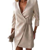 Casual Dresses Elegant V Neck Side Belt Office Lady Suit Dress Autumn Long Sleeve Party Women Fashion Solid Blazer Mini 2021