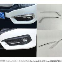 Hot Head Head Front Front Fovbrows / Trim Light Lamp Frame Rick ABS Chrome Cover 2PCS для Honda Civic 10-й седан 2016 2017 2018 2019