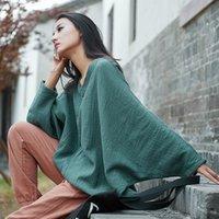 Johnature Outono Bat Sleeve t - shirts mulheres vintage de algodão linho v-pescoço v-pescoço plus tamanho mulheres panos casuais t-shirts 210302