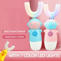 Crianças U tipo Escova de dentes elétrica com luz LED Automática Ultrasonic mini escova de dente cabeças limpeza de dentes para crianças