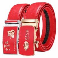 Gürtel QJ Cinga Marke Männer Gürtel Automatische Schnalle Mode Male Leder Rot Cinturon Hombre Größe 100 cm-130cm