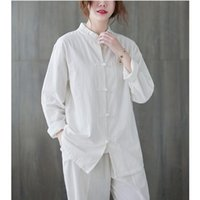 Ethnic Clothing Cotton Linen Tang Suit Chinese Traditional Fall winter National Style Casual Retro Stand Collar Button Shirt Women's Jacket