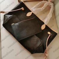 النساء مصمم الكلاسيكية قماش جلدية الفاخرة حقائب الكتف حمل حقائب السيدات الأزياء حقيبة تسوق محفظة جنرال موم و 2 جهاز كمبيوتر شخصى / مجموعة مع محفظة