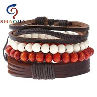 Tennis SHAOJIA 1 Set 4 Pcs Fashion Red And White Wooden Beads Charm Women Wrap Bracelets Trendy Braiding Leather Rope Chain