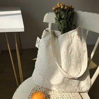 Women Canvas Shoulder Bags Embossed Daisy Design Ladies Floral Handbag Casual Tote Literary Books Shopping for Girls