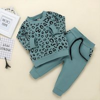 Infant Outfits Baby Girls Boys Leopard Print T Shirt Sweater Coat Tops Pants Kids Long Sleeve Clothes Kinder Kleidung