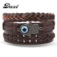 سحر أساور عيون داكس من الأيدي الرجعية متعدد الطبقات الجلود سوار الرجال الكلاسيكية حبل سلسلة مجوهرات هدية