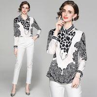 Womens Shirt Long Sleeve Lapel 2021 Autumn Printed Shirt High-end Fashion Lady Blouse Office Business Shirt
