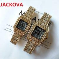 Mens montre de luxe Square Designer Diamonds Ring Watch Full Stainless Steel Wristwatches waterproof Luminous Women Watches
