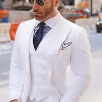 Wide Peaked Lapel Men Suits for Wedding Tuxedos 2022 White Groom Man Blazer jacket 3 Pieces Smart Casual Business Suit