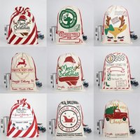 2021 Neujahr Geschenk Santa Sacks Große Weihnachtsmann Sack Weihnachten Leinwand Geschenk Taschen Kordelzug Baumwolle Santa Party Supplies
