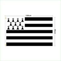 Пользовательские цифровые печати 3x5FT флаг Франция Традиционная провинция Бреиж Бретань Ллиды Бретани баннер для внутренних украшений на открытом воздухе