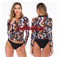 Bikinis 세트 여성의 rash 가드 태양 보호 UV 서핑 탑 바닥 2 조각 긴 소매 수영 셔츠 지퍼 앞 탱크니 수영복 1
