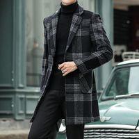 5XL 2021 Winter Vintage Woll Trenchcoat Herren Plaid Parka Herren Lange Jacken Retro Mantel Elegant Gentleman Coats Große Größe
