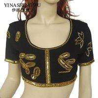 Sahne Giyim 1 ADET Yetişkin Göbek Dansı Üst Dans Uygulama Kısa Kollu Boncuklu Pullu 10 Renkler