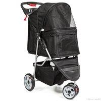 3 tekerlekli katlanır pet arabası seyahat taşıyıcı arabası kedileri ve köpekler- siyah XTL0