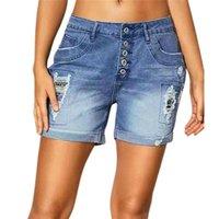 Women's Jeans Summer Shorts Women Ripped Denim Short Pants High Waist Straight Button Trousers Light Blue Street Clothing