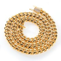 الرجال 18kt الذهب مملوء لهجة 316l الفولاذ المقاوم للصدأ الكوبي ربط سلسلة قلادة 14 ملليمتر كبح كوبا رابط سلسلة مع الماس قفل قفل هدية