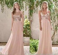 2021 Glitz Rose Gold Sequined Bridesmaid Dresses Long Chiffon Halter A Line Straps Ruffles Blush Pink Maid of Honor Wedding Gästklänning