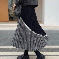 BYGOUBY noble jacquard jacquard femme jupe tricotée élastique taille haute maxi maxi jupes automne hiver épais épaisse fête de fête plissée 210309