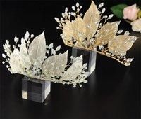 Foglia di lusso copricapo fascia da sposa corona da sposa corona diadema cristallo strass accessori per capelli gioielli fascia principessa regina testa testa