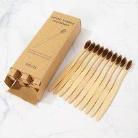 10 unids bambú cepillo de dientes ecológico producto vegano cepillo de dientes arco iris negro de madera suave fibra de madera adultos conjunto de viajes 183 S2